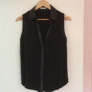 Soprano black leather collared button down blouse